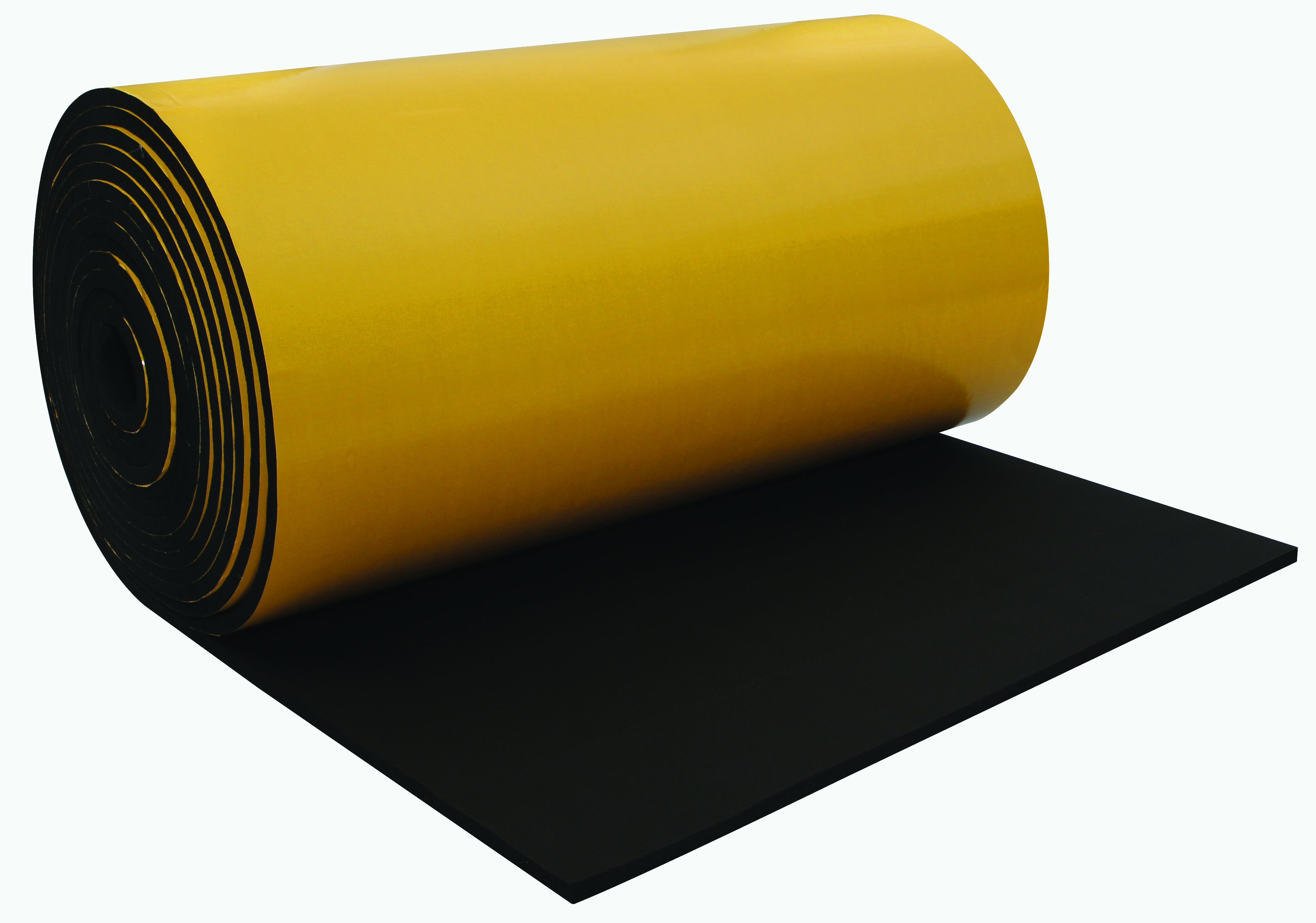 Self-adhesive elastomeric rubber foam insulation sheets
